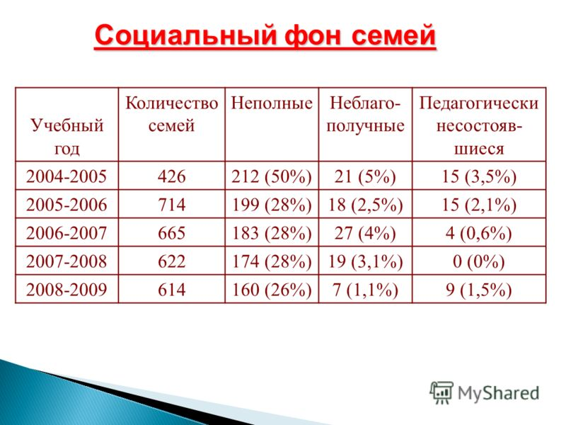 Социальный фон семей Учебный год Количество семей НеполныеНеблаго- получные Педагогически несостояв- шиеся 2004-2005426212 (50%)21 (5%)15 (3,5%) 2005-2006714199 (28%)18 (2,5%)15 (2,1%) 2006-2007665183 (28%)27 (4%)4 (0,6%) 2007-2008622174 (28%)19 (3,1