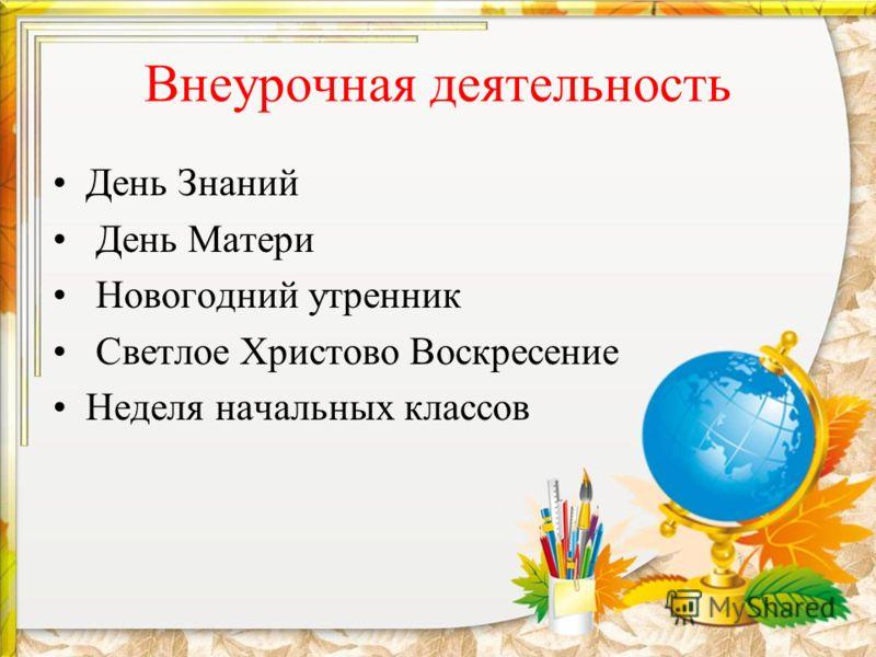 Внеурочная деятельность День Знаний День Матери Новогодний утренник Светлое Христово Воскресение Неделя начальных классов