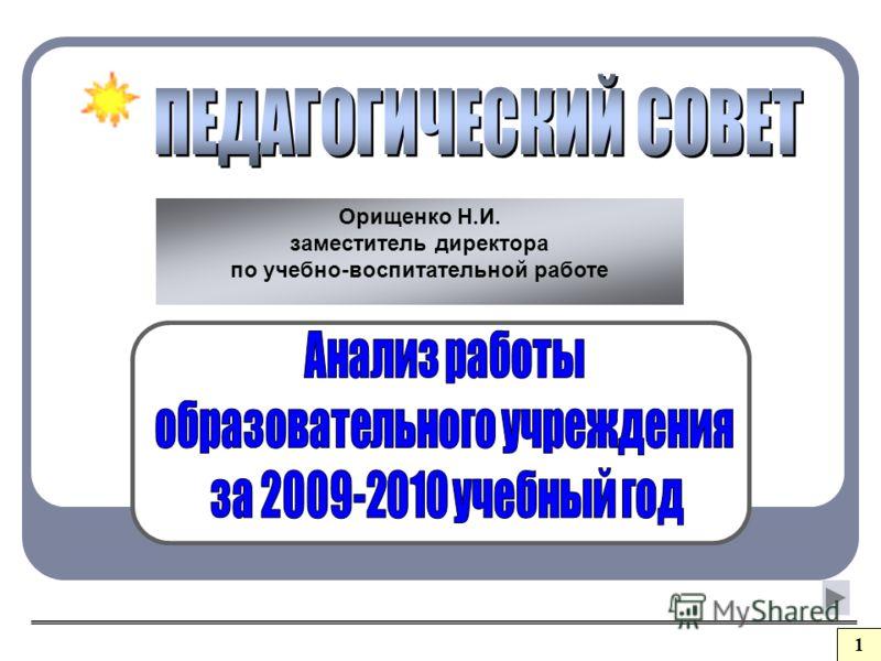 Орищенко Н.И. заместитель директора по учебно-воспитательной работе 1
