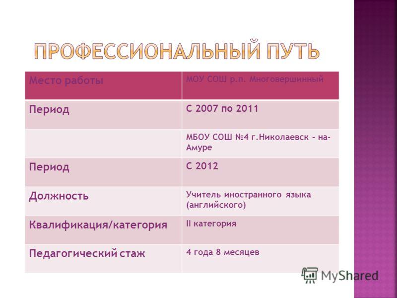 Место работы МОУ СОШ р.п. Многовершинный Период С 2007 по 2011 МБОУ СОШ 4 г.Николаевск – на- Амуре Период С 2012 Должность Учитель иностранного языка (английского) Квалификация/категория II категория Педагогический стаж 4 года 8 месяцев