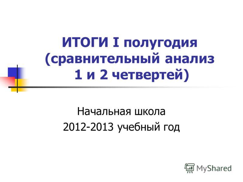 ИТОГИ I полугодия (сравнительный анализ 1 и 2 четвертей) Начальная школа 2012-2013 учебный год
