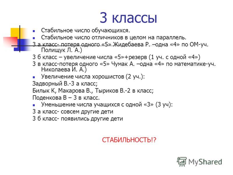 3 классы Стабильное число обучающихся. Стабильное число отличников в целом на параллель. 3 а класс- потеря одного «5» Жидебаева Р. –одна «4» по ОМ-уч. Полищук Л. А.) 3 б класс – увеличение числа «5»+резерв (1 уч. с одной «4») 3 в класс-потеря одного