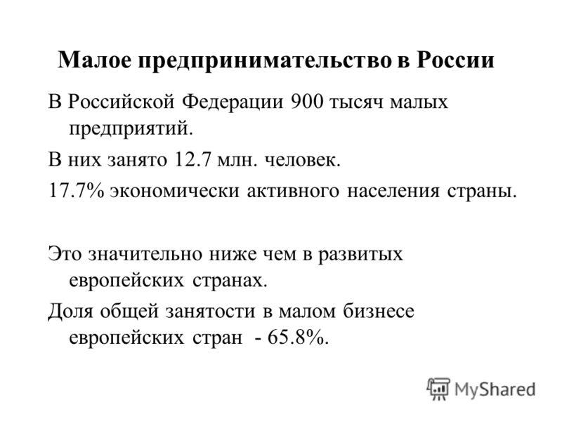Малое предпринимательство в России В Российской Федерации 900 тысяч малых предприятий. В них занято 12.7 млн. человек. 17.7% экономически активного населения страны. Это значительно ниже чем в развитых европейских странах. Доля общей занятости в мало