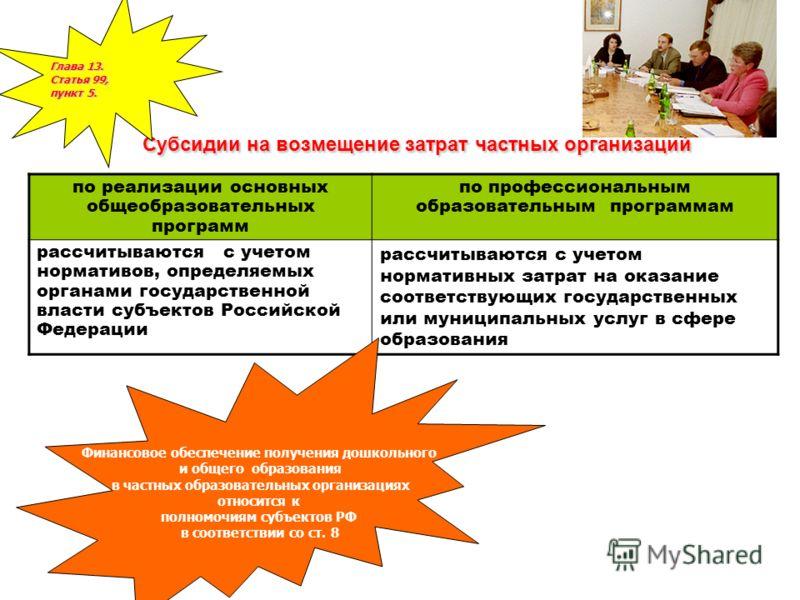 Субсидии на возмещение затрат частных организаций по реализации основных общеобразовательных программ по профессиональным образовательным программам рассчитываются с учетом нормативов, определяемых органами государственной власти субъектов Российской