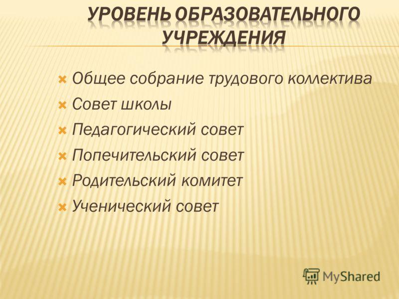 Общее собрание трудового коллектива Совет школы Педагогический совет Попечительский совет Родительский комитет Ученический совет