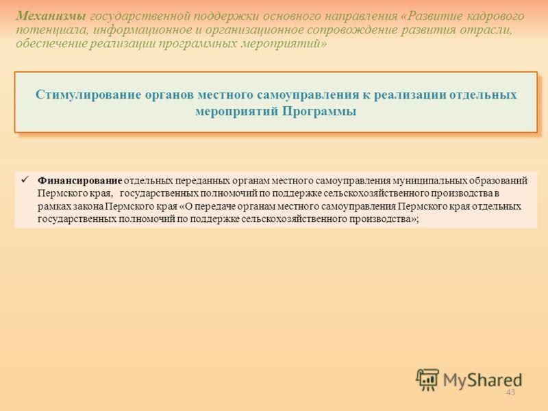 43 Стимулирование органов местного самоуправления к реализации отдельных мероприятий Программы Механизмы государственной поддержки основного направления «Развитие кадрового потенциала, информационное и организационное сопровождение развития отрасли,