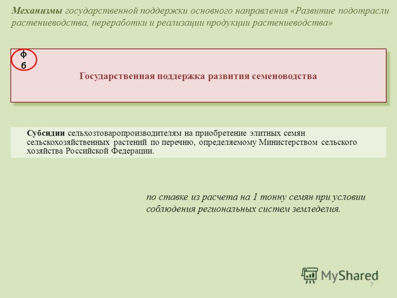 7 Государственная поддержка развития семеноводства Субсидии сельхозтоваропроизводителям на приобретение элитных семян сельскохозяйственных растений по перечню, определяемому Министерством сельского хозяйства Российской Федерации. Механизмы государств