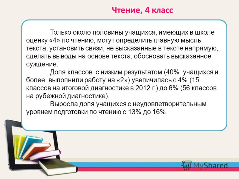 Только около половины учащихся, имеющих в школе оценку «4» по чтению, могут определить главную мысль текста, установить связи, не высказанные в тексте напрямую, сделать выводы на основе текста, обосновать высказанное суждение. Доля классов с низким р
