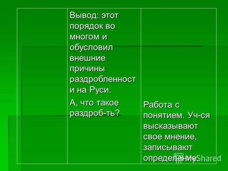 Вывод: этот порядок во многом и обусловил внешние причины раздробленност и на Руси. А, что такое раздроб-ть? Работа с понятием. Уч-ся высказывают свое мнение, записывают определение.