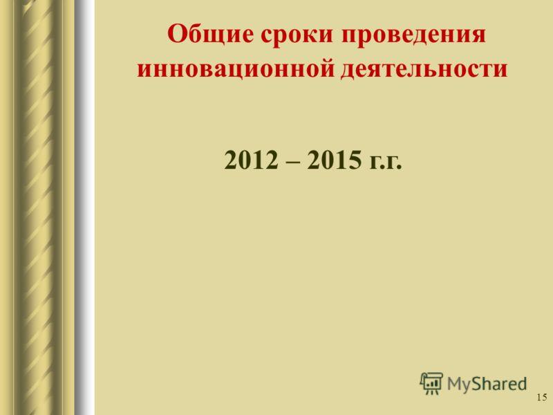 15 Общие сроки проведения инновационной деятельности 2012 – 2015 г.г.