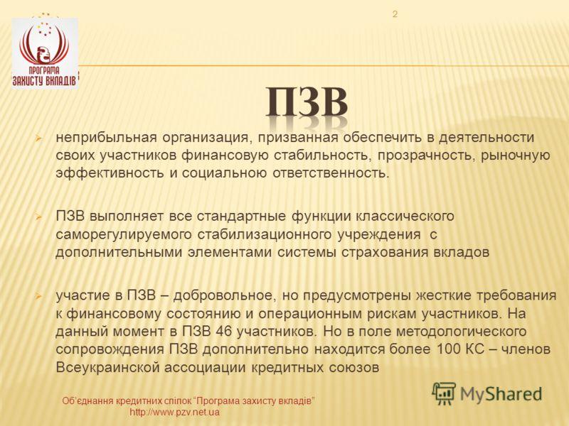 Обєднання кредитних спілок Програма захисту вкладів http://www.pzv.net.ua 2 неприбыльная организация, призванная обеспечить в деятельности своих участников финансовую стабильность, прозрачность, рыночную эффективность и социальною ответственность. ПЗ