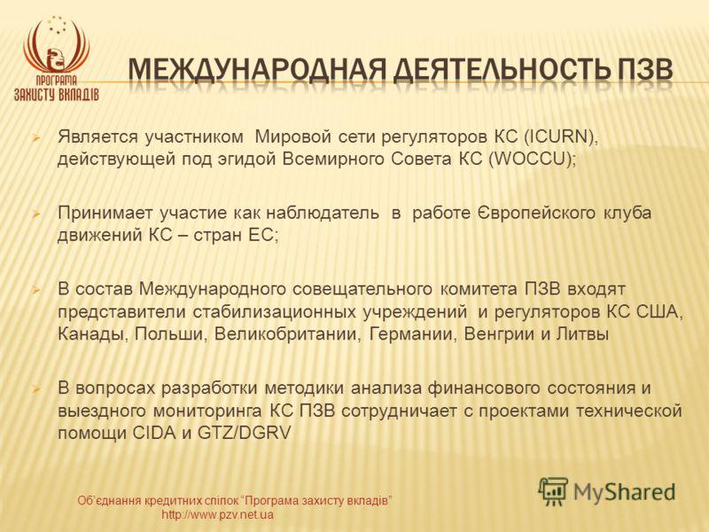 Обєднання кредитних спілок Програма захисту вкладів http://www.pzv.net.ua Является участником Мировой сети регуляторов КС (ICURN), действующей под эгидой Всемирного Совета КС (WOCCU); Принимает участие как наблюдатель в работе Європейского клуба движ