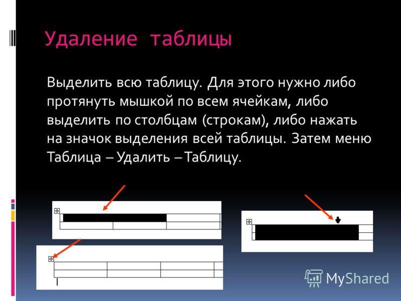 Удаление таблицы Выделить всю таблицу. Для этого нужно либо протянуть мышкой по всем ячейкам, либо выделить по столбцам (строкам), либо нажать на значок выделения всей таблицы. Затем меню Таблица – Удалить – Таблицу.