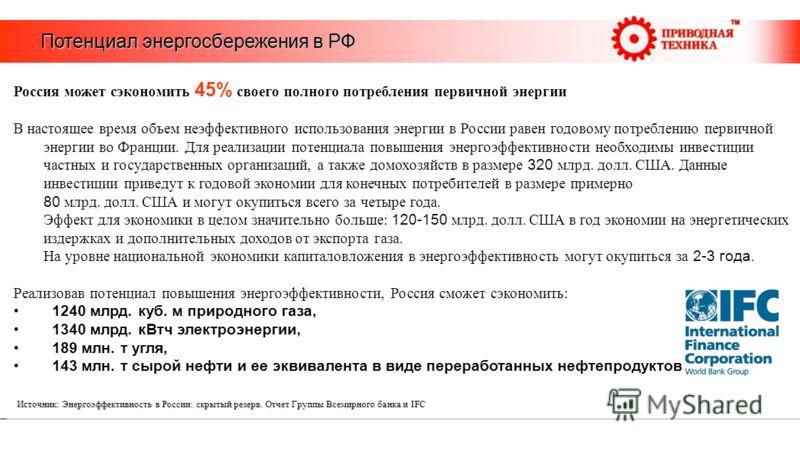 Потенциал энергосбережения в РФ Россия может сэкономить 45% своего полного потребления первичной энергии В настоящее время объем неэффективного использования энергии в России равен годовому потреблению первичной энергии во Франции. Для реализации пот