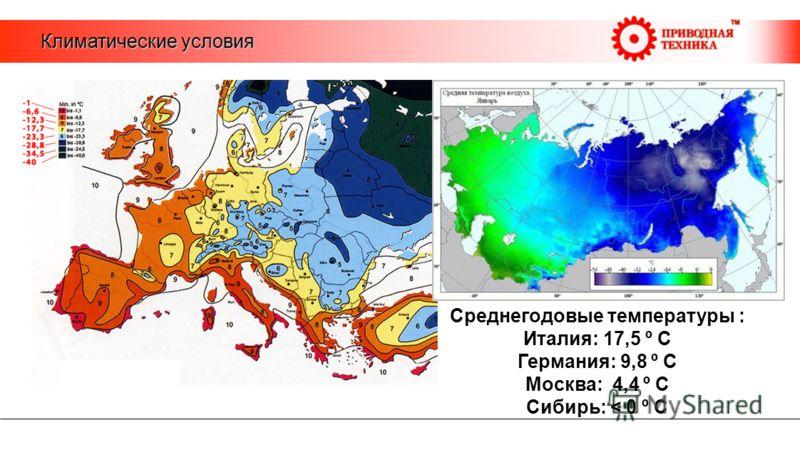 Климатические условия Среднегодовые температуры : Италия: 17,5 º С Германия: 9,8 º С Москва: 4,4 º С Сибирь: < 0 º С