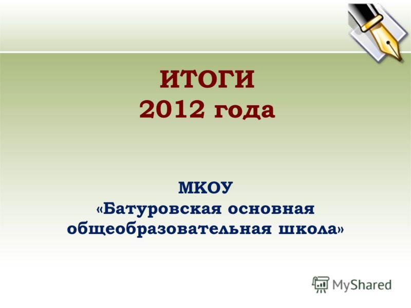 ИТОГИ 2012 года МКОУ «Батуровская основная общеобразовательная школа»
