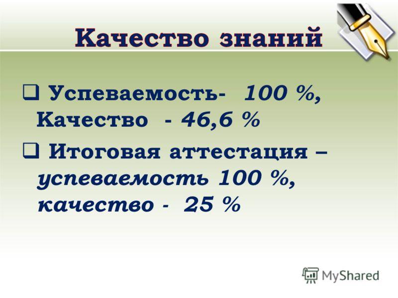 Успеваемость- 100 %, Качество - 46,6 % Итоговая аттестация – успеваемость 100 %, качество - 25 %
