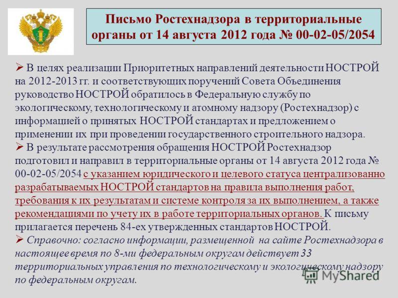 Письмо Ростехнадзора в территориальные органы от 14 августа 2012 года 00-02-05/2054 В целях реализации Приоритетных направлений деятельности НОСТРОЙ на 2012-2013 гг. и соответствующих поручений Совета Объединения руководство НОСТРОЙ обратилось в Феде