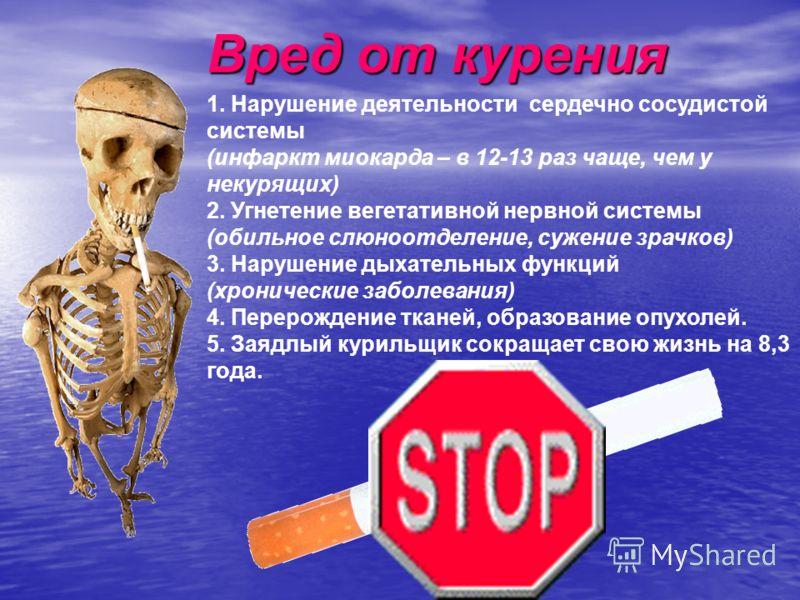 Вред от курения 1. Нарушение деятельности сердечно сосудистой системы (инфаркт миокарда – в 12-13 раз чаще, чем у некурящих) 2. Угнетение вегетативной нервной системы (обильное слюноотделение, сужение зрачков) 3. Нарушение дыхательных функций (хронич