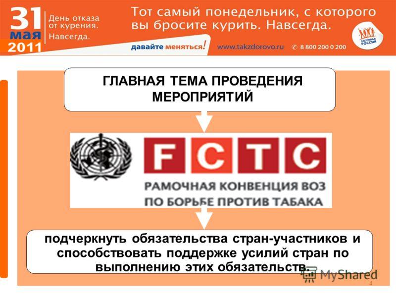 4 ГЛАВНАЯ ТЕМА ПРОВЕДЕНИЯ МЕРОПРИЯТИЙ подчеркнуть обязательства стран-участников и способствовать поддержке усилий стран по выполнению этих обязательств.