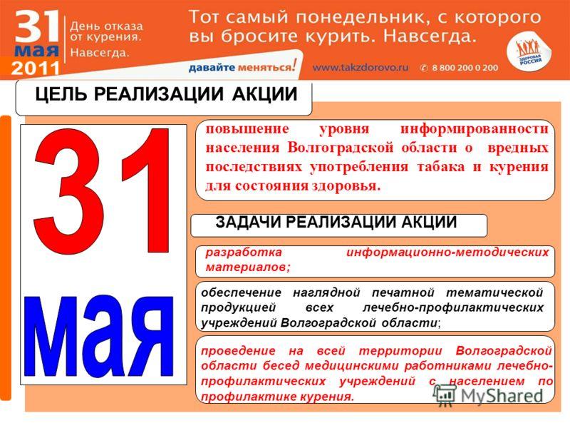 ЦЕЛЬ РЕАЛИЗАЦИИ АКЦИИ повышение уровня информированности населения Волгоградской области о вредных последствиях употребления табака и курения для состояния здоровья. ЦЕЛЬ РЕАЛИЗАЦИИ АКЦИИ ЗАДАЧИ РЕАЛИЗАЦИИ АКЦИИ разработка информационно-методических