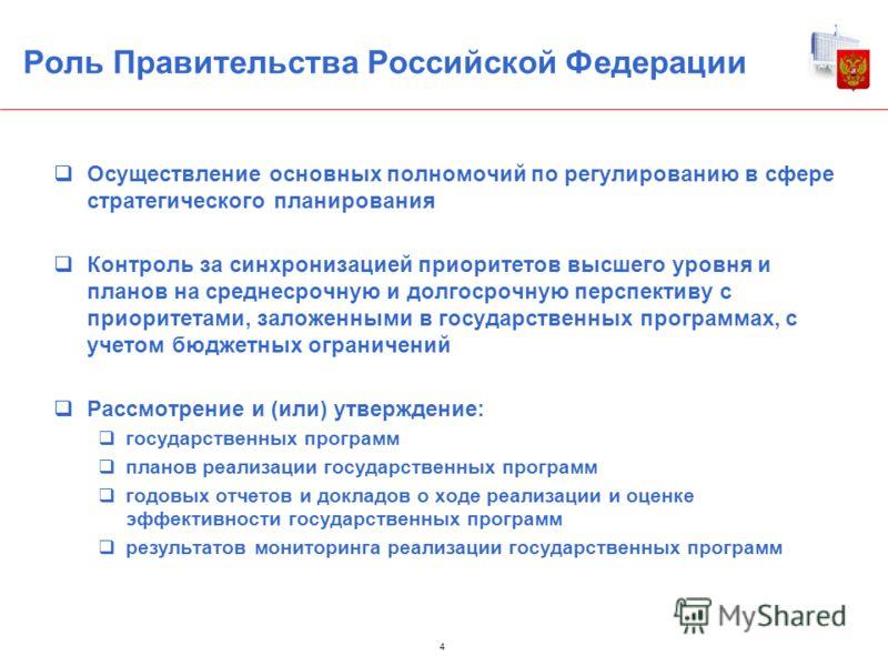 Роль Правительства Российской Федерации Осуществление основных полномочий по регулированию в сфере стратегического планирования Контроль за синхронизацией приоритетов высшего уровня и планов на среднесрочную и долгосрочную перспективу с приоритетами,