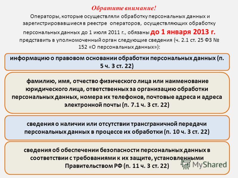 Обратите внимание! Операторы, которые осуществляли обработку персональных данных и зарегистрировавшиеся в реестре операторов, осуществляющих обработку персональных данных до 1 июля 2011 г., обязаны до 1 января 2013 г. представить в уполномоченный орг