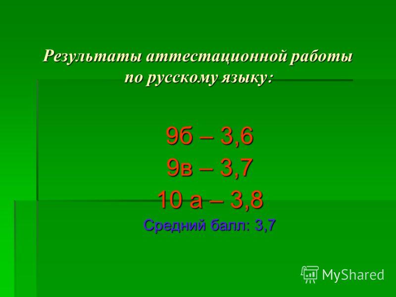 Результаты аттестационной работы по русскому языку : 9б – 3,6 9в – 3,7 10 а – 3,8 Средний балл: 3,7