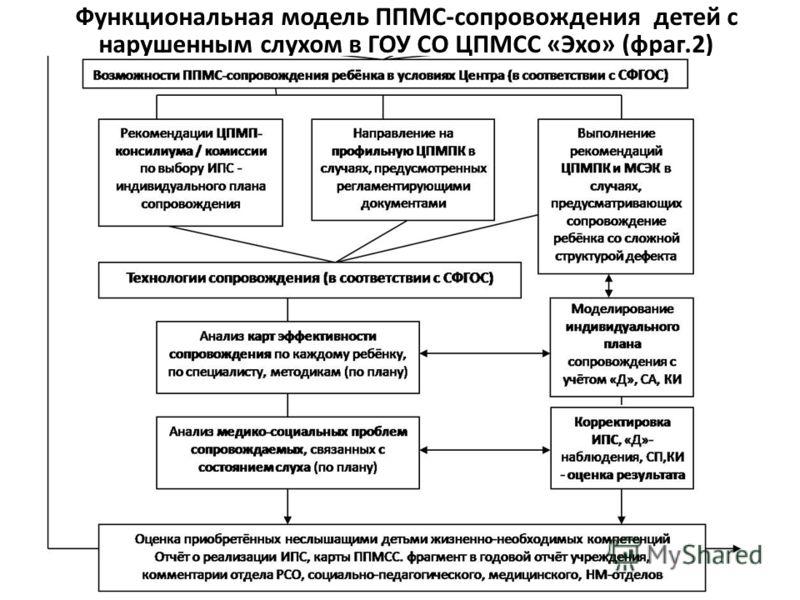 Функциональная модель ППМС-сопровождения детей с нарушенным слухом в ГОУ СО ЦПМСС «Эхо» (фраг.2)