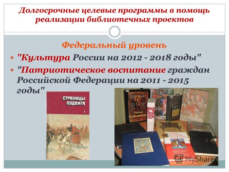 Долгосрочные целевые программы в помощь реализации библиотечных проектов Федеральный уровень Культура России на 2012 - 2018 годы Патриотическое воспитание граждан Российской Федерации на 2011 - 2015 годы