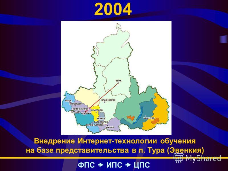 2004 ФПС – ИПС – ЦПС Внедрение Интернет-технологии обучения на базе представительства в п. Тура (Эвенкия)