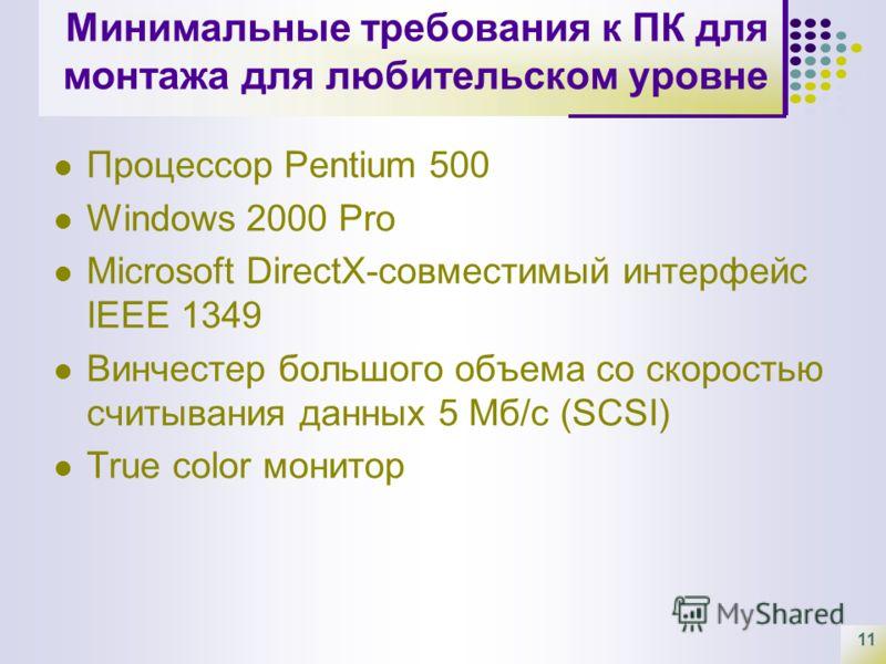 11 Минимальные требования к ПК для монтажа для любительском уровне Процессор Pentium 500 Windows 2000 Pro Microsoft DirectX-совместимый интерфейс IEEE 1349 Винчестер большого объема со скоростью считывания данных 5 Мб/с (SCSI) True color монитор