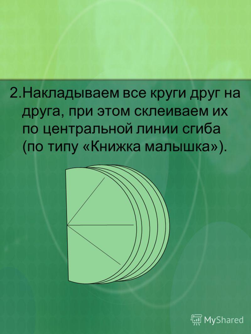 2.Накладываем все круги друг на друга, при этом склеиваем их по центральной линии сгиба (по типу «Книжка малышка»).