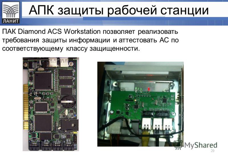 АПК защиты рабочей станции ПАК Diamond ACS Workstation позволяет реализовать требования защиты информации и аттестовать АС по соответствующему классу защищенности. 20