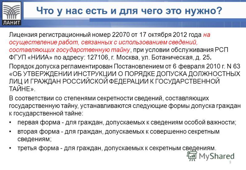 Что у нас есть и для чего это нужно? Лицензия регистрационный номер 22070 от 17 октября 2012 года на осуществление работ, связанных с использованием сведений, составляющих государственную тайну, при условии обслуживания РСП ФГУП «НИИА» по адресу: 127