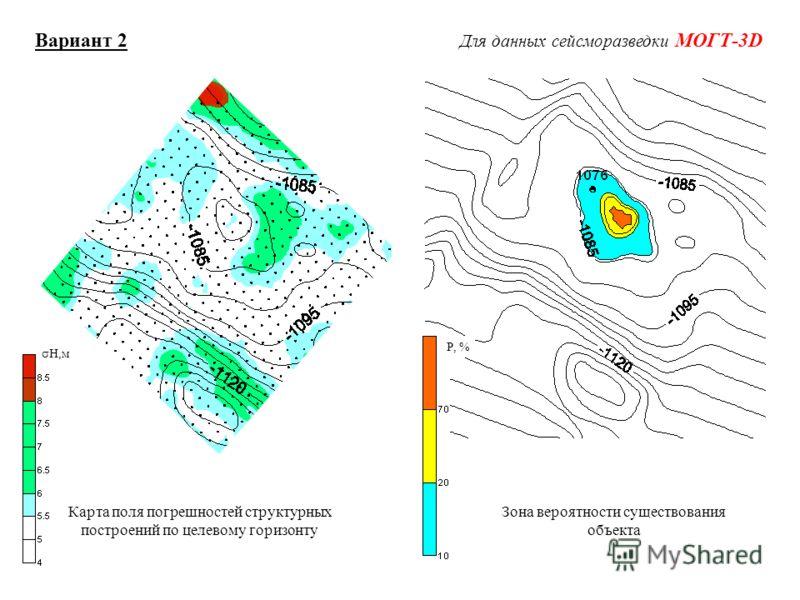 H,м Р, % Вариант 2 Для данных сейсморазведки МОГТ-3D Карта поля погрешностей структурных построений по целевому горизонту Зона вероятности существования объекта