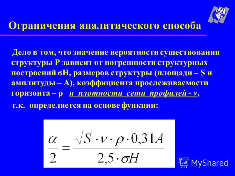 Ограничения аналитического способа Дело в том, что значение вероятности существования структуры Р зависит от погрешности структурных построений σH, размеров структуры (площади – S и амплитуды – A), коэффициента прослеживаемости горизонта – ρ и плотно