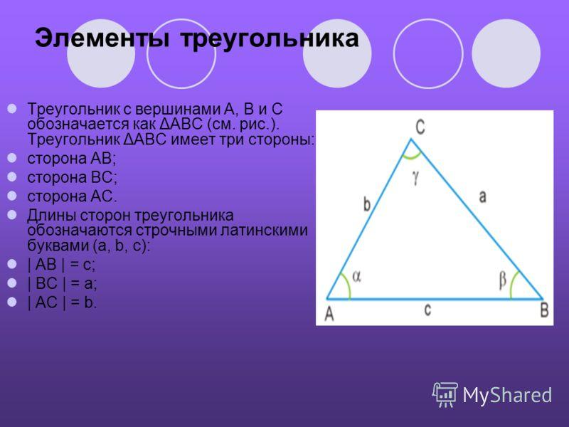 Элементы треугольника Треугольник с вершинами A, B и C обозначается как ΔABC (см. рис.). Треугольник ΔABC имеет три стороны: сторона AB; сторона BC; сторона AC. Длины сторон треугольника обозначаются строчными латинскими буквами (a, b, c):   AB   = c