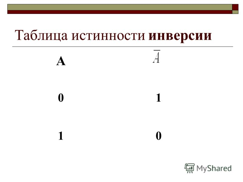 Таблица истинности инверсии А 01 10