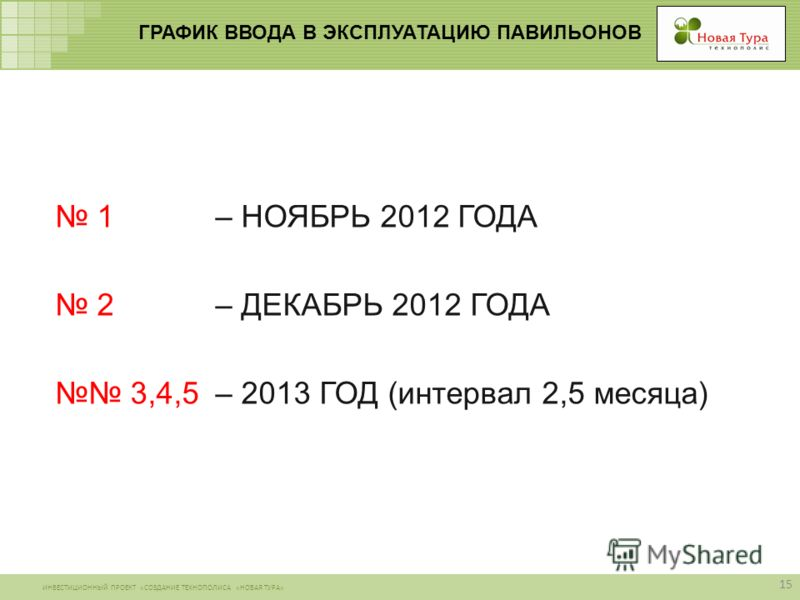 ИНВЕСТИЦИОННЫЙ ПРОЕКТ «СОЗДАНИЕ ТЕХНОПОЛИСА «НОВАЯ ТУРА» ГРАФИК ВВОДА В ЭКСПЛУАТАЦИЮ ПАВИЛЬОНОВ 15 1 – НОЯБРЬ 2012 ГОДА 2 – ДЕКАБРЬ 2012 ГОДА 3,4,5 – 2013 ГОД (интервал 2,5 месяца)