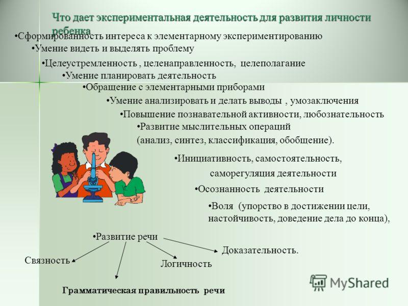 Что дает экспериментальная деятельность для развития личности ребенка Сформированность интереса к элементарному экспериментированию Умение видеть и выделять проблему Целеустремленность, целенаправленность, целеполагание Умение планировать деятельност