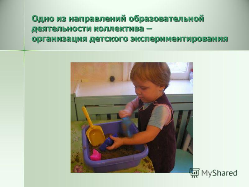 Одно из направлений образовательной деятельности коллектива – организация детского экспериментирования