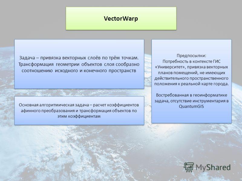 VectorWarp Задача – привязка векторных слоёв по трём точкам. Трансформация геометрии объектов слоя сообразно соотношению исходного и конечного пространств Задача – привязка векторных слоёв по трём точкам. Трансформация геометрии объектов слоя сообраз