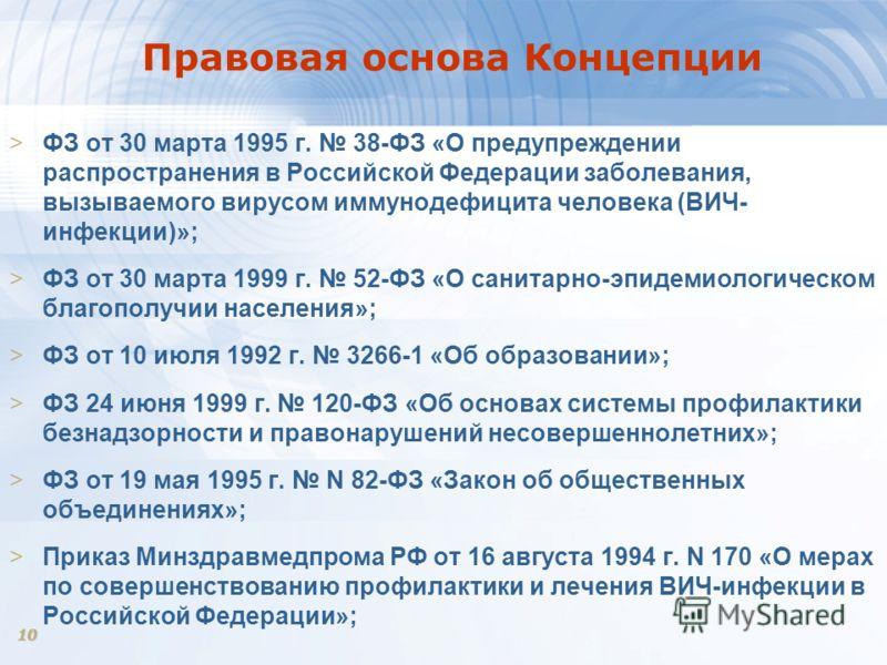 10 Правовая основа Концепции >ФЗ от 30 марта 1995 г. 38-ФЗ «О предупреждении распространения в Российской Федерации заболевания, вызываемого вирусом иммунодефицита человека (ВИЧ- инфекции)»; >ФЗ от 30 марта 1999 г. 52-ФЗ «О санитарно-эпидемиологическ