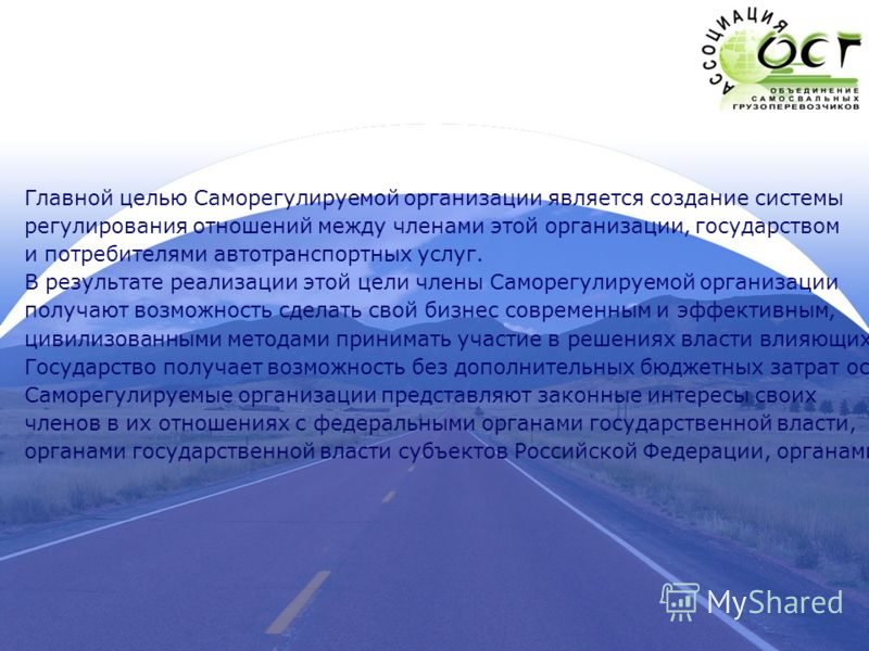 Главной целью Саморегулируемой организации является создание системы регулирования отношений между членами этой организации, государством и потребителями автотранспортных услуг. В результате реализации этой цели члены Саморегулируемой организации пол