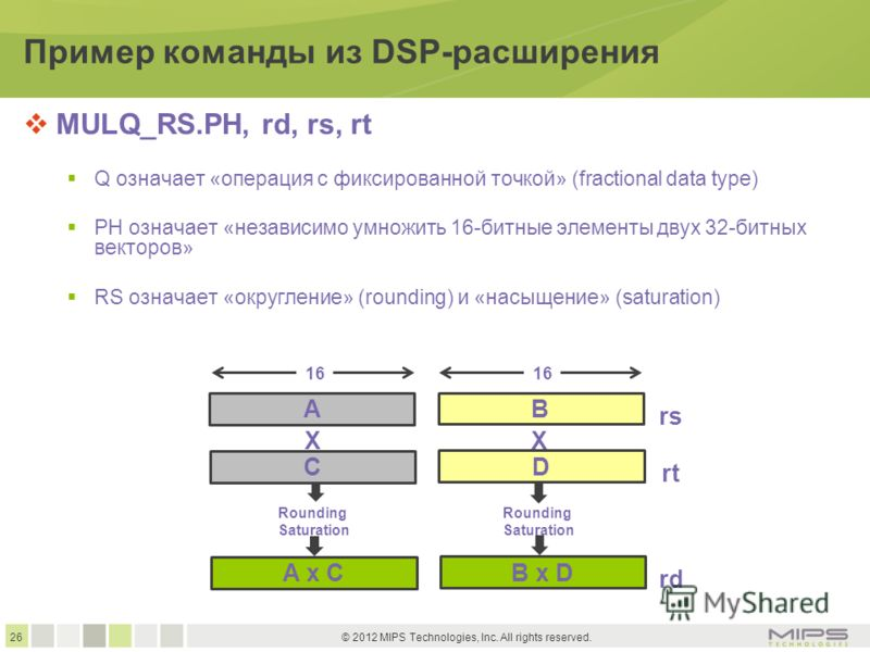 26 © 2012 MIPS Technologies, Inc. All rights reserved. Пример команды из DSP-расширения MULQ_RS.PH, rd, rs, rt Q означает «операция с фиксированной точкой» (fractional data type) PH означает «независимо умножить 16-битные элементы двух 32-битных вект