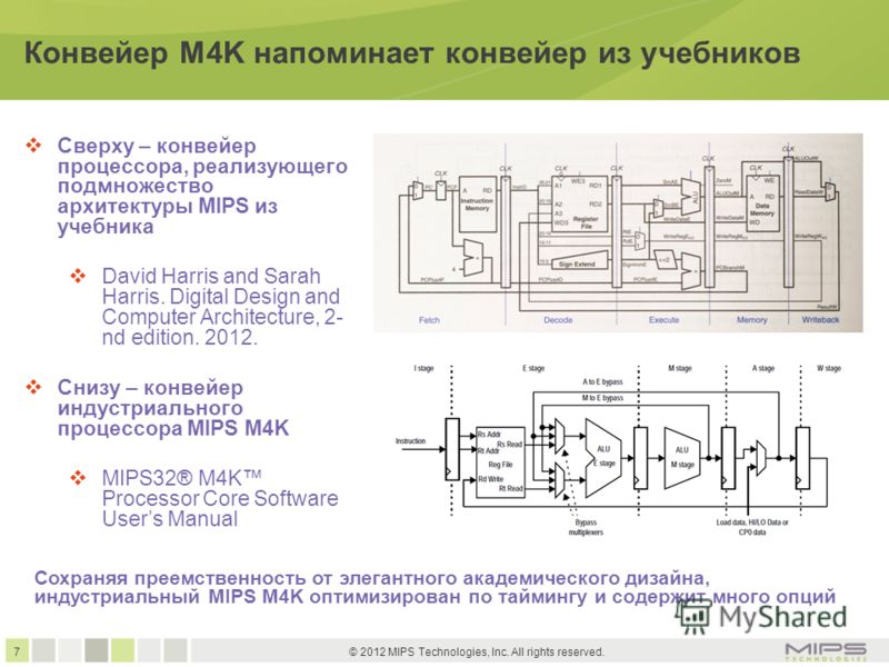 7 © 2012 MIPS Technologies, Inc. All rights reserved. Конвейер M4K напоминает конвейер из учебников Сверху – конвейер процессора, реализующего подмножество архитектуры MIPS из учебника David Harris and Sarah Harris. Digital Design and Computer Archit