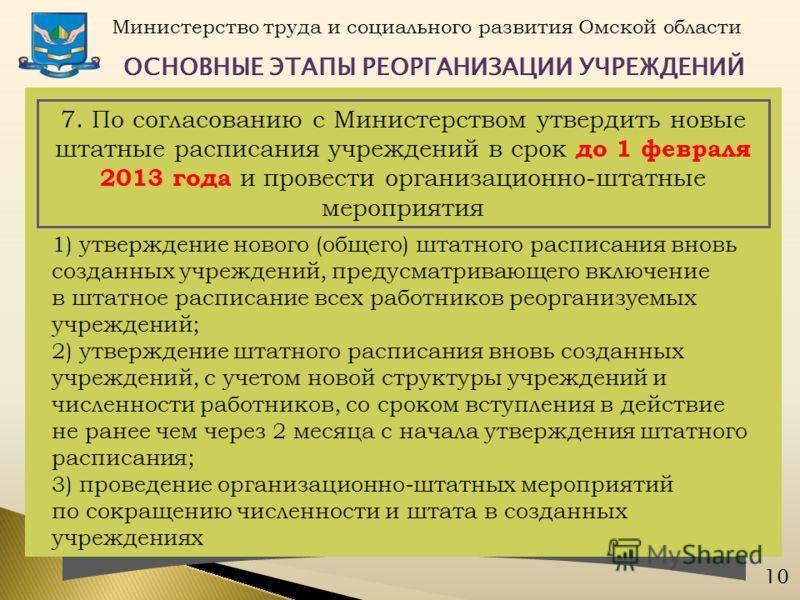 Министерство труда и социального развития Омской области 10 7. По согласованию с Министерством утвердить новые штатные расписания учреждений в срок до 1 февраля 2013 года и провести организационно-штатные мероприятия 1) утверждение нового (общего) шт