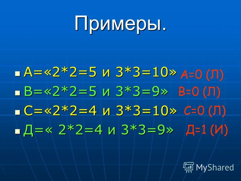 Примеры. А=«2*2=5 и 3*3=10» А=«2*2=5 и 3*3=10» В=«2*2=5 и 3*3=9» В=«2*2=5 и 3*3=9» С=«2*2=4 и 3*3=10» С=«2*2=4 и 3*3=10» Д=« 2*2=4 и 3*3=9» Д=« 2*2=4 и 3*3=9» А=0 (Л) В=0 (Л) С=0 (Л) Д=1 (И)