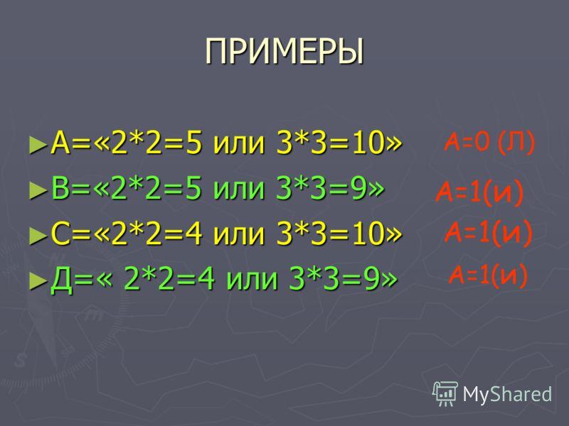 ПРИМЕРЫ А=«2*2=5 или 3*3=10» А=«2*2=5 или 3*3=10» В=«2*2=5 или 3*3=9» В=«2*2=5 или 3*3=9» С=«2*2=4 или 3*3=10» С=«2*2=4 или 3*3=10» Д=« 2*2=4 или 3*3=9» Д=« 2*2=4 или 3*3=9» А=0 (Л) А=1( и )